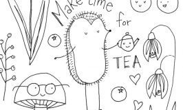 Free Tea Party Colouring Page