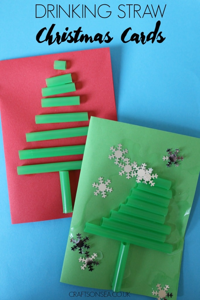 Simple Kid Made Drinking Straw Christmas Cards - Crafts on Sea