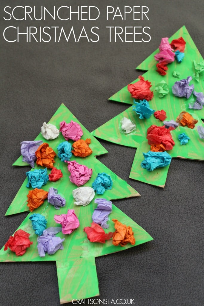 Scrunched Paper Christmas Trees Crafts On Sea