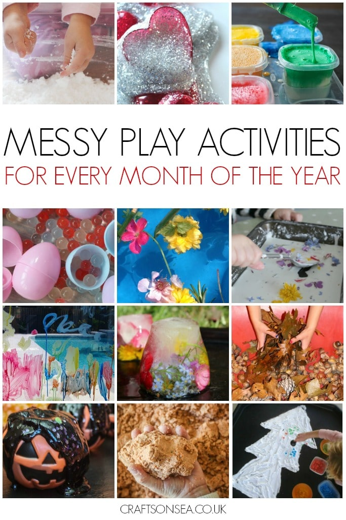 messy play activities for every month of the year