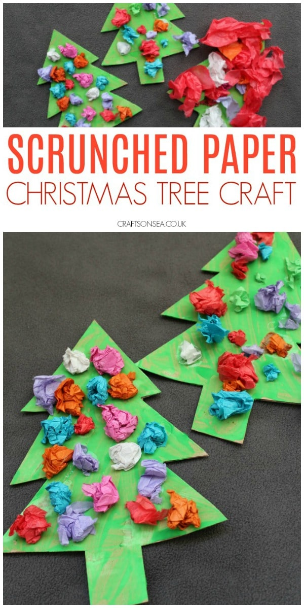 scrunched paper christmas tree craft for toddlers and preschoolers #christmascrafts #christmascraftsforkids #preschool