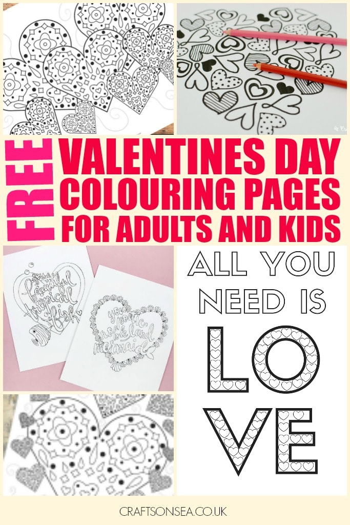 Free Printable Valentines Day Colouring Pages for Adults and Kids