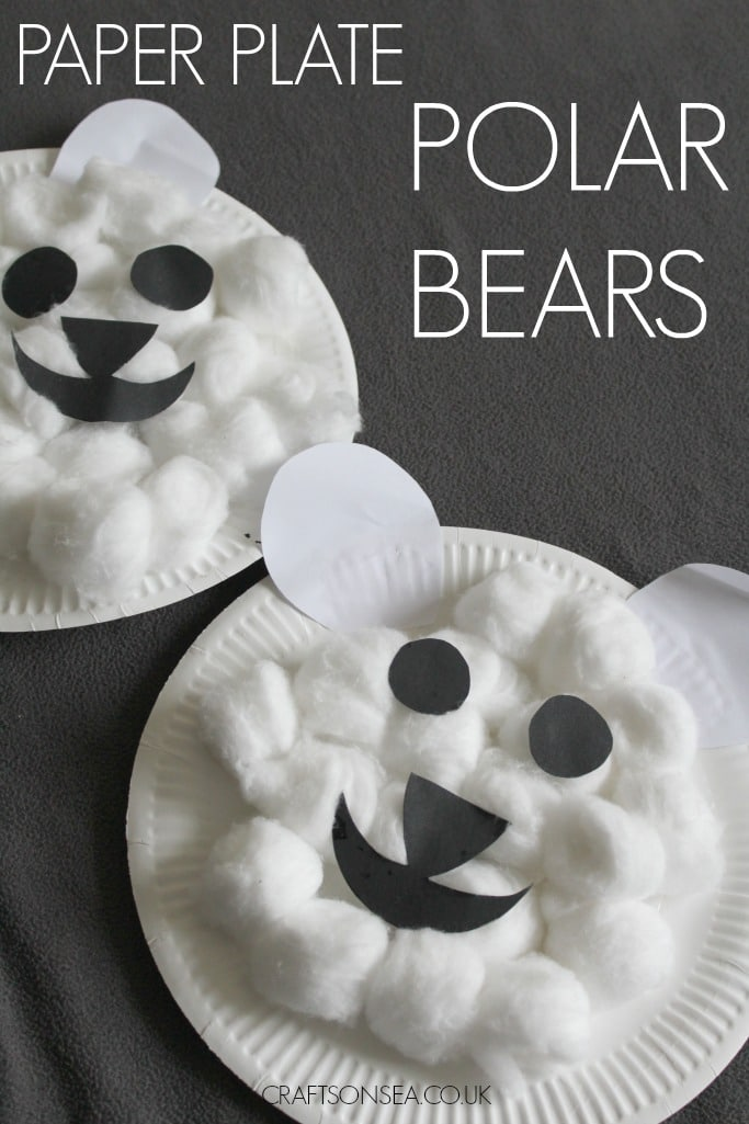 paper plate polar bear craft for kids