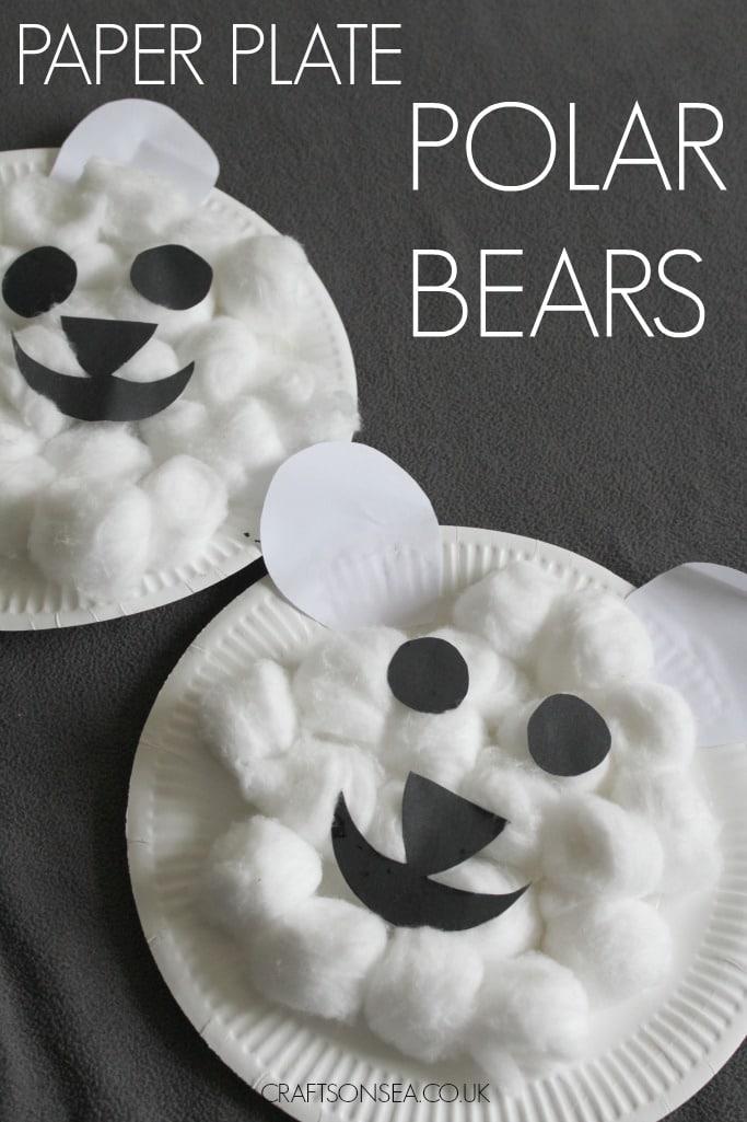 paper plate polar bear craft for kids