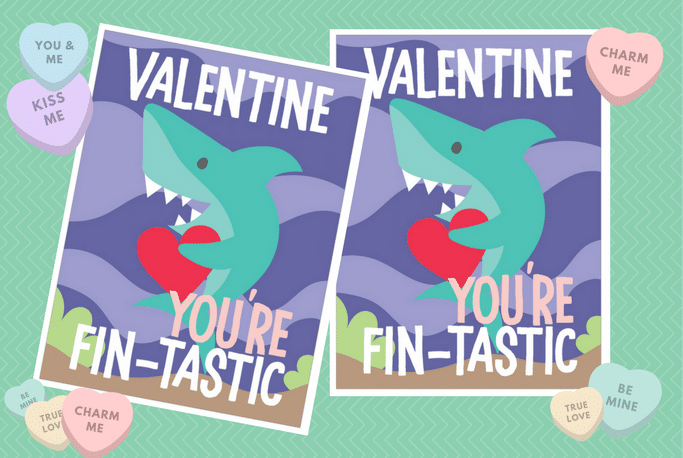 valentines day printable shark