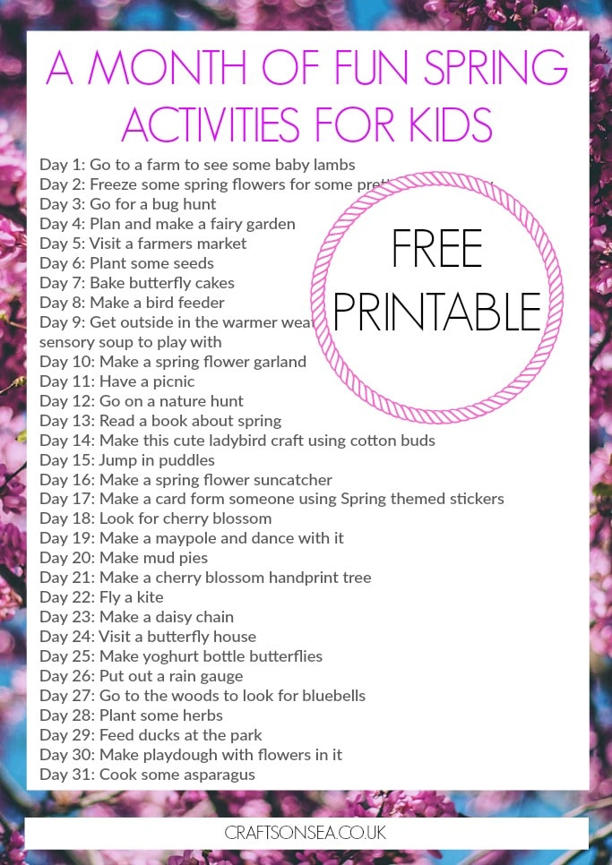 a month of fun spring activities for kids bucket list