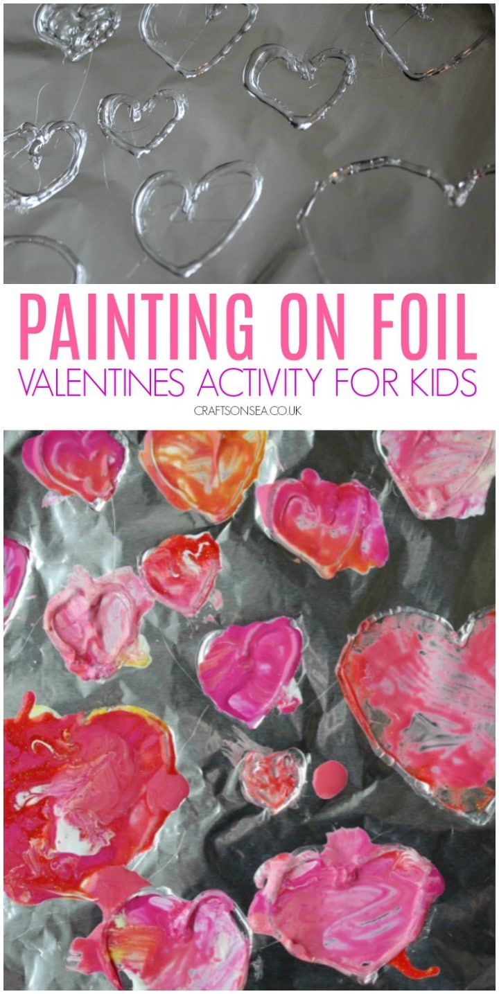 painting on foil valentines activity for kids preschoolers