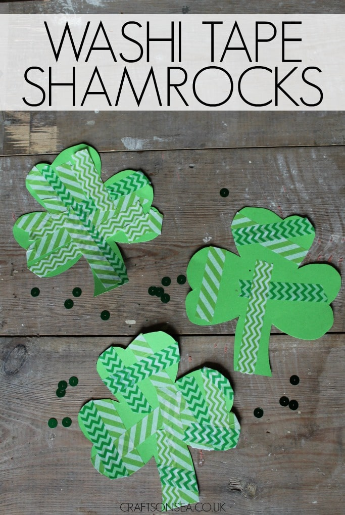 washi tape shamrocks st patricks day craft for kids