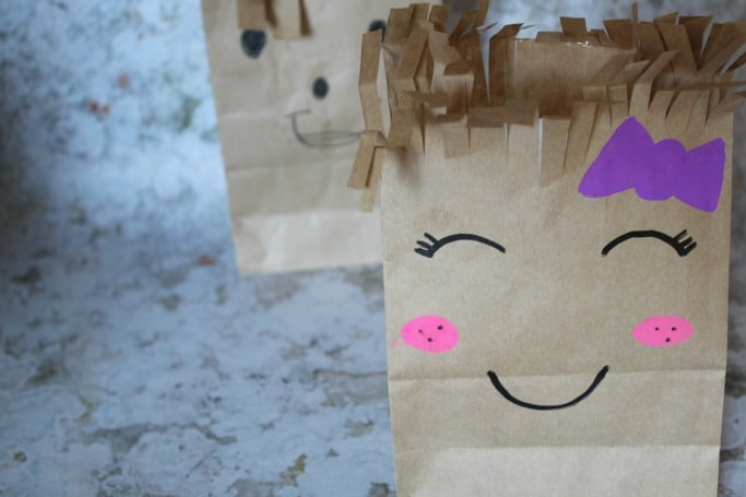 kids scissor skills paper bag craft