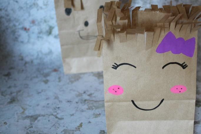 kids scissor skills paper bag craft