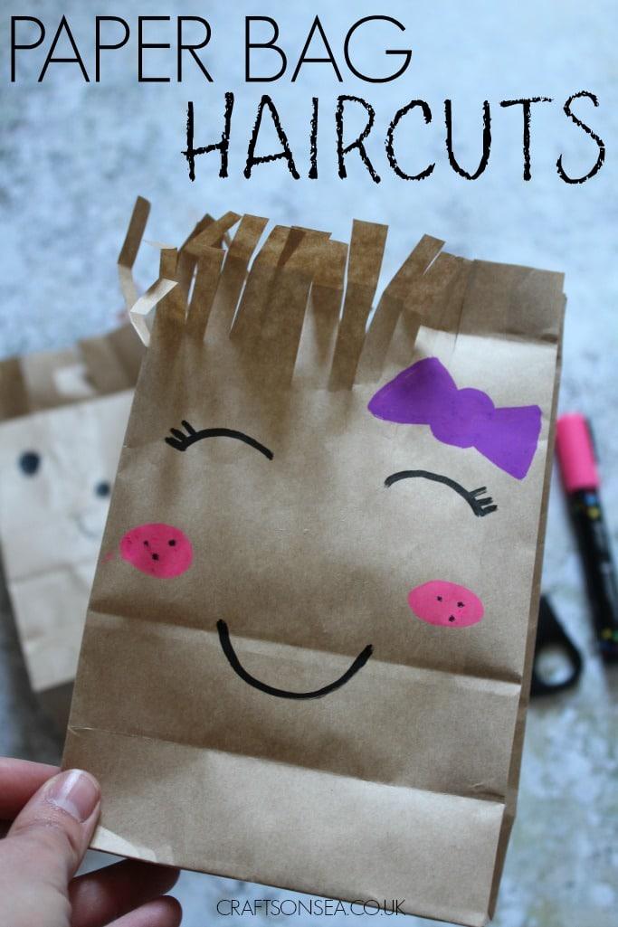 paper bag haircut craft for scissor skills