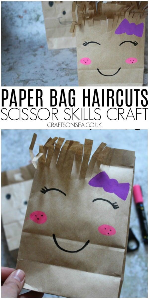 scissor skills preschool craft paper bag haircuts