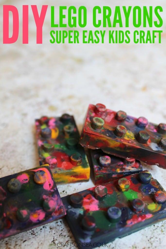 diy lego crayons kids craft party favour