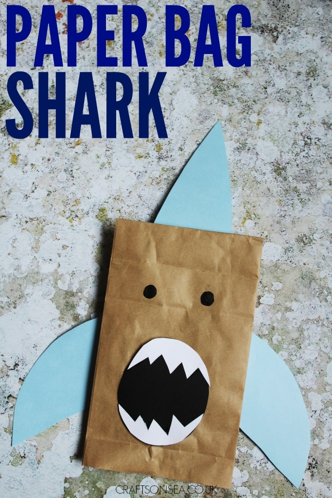 Paper bag shark craft crafts on sea for Brown paper bag crafts for toddlers