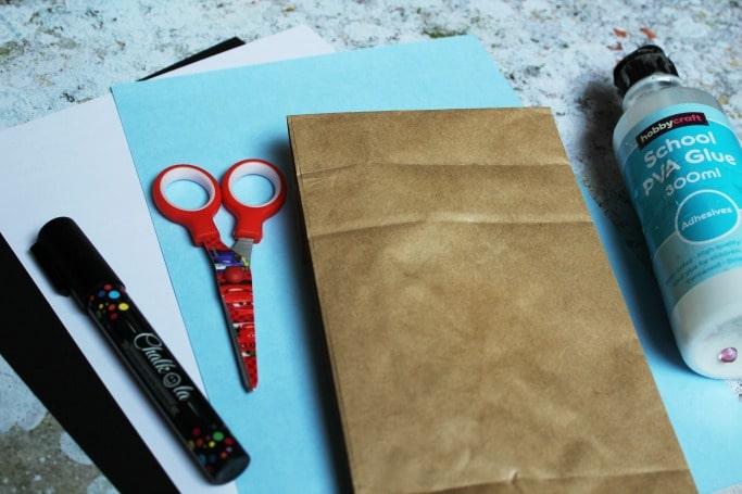paper bag shark craft materials