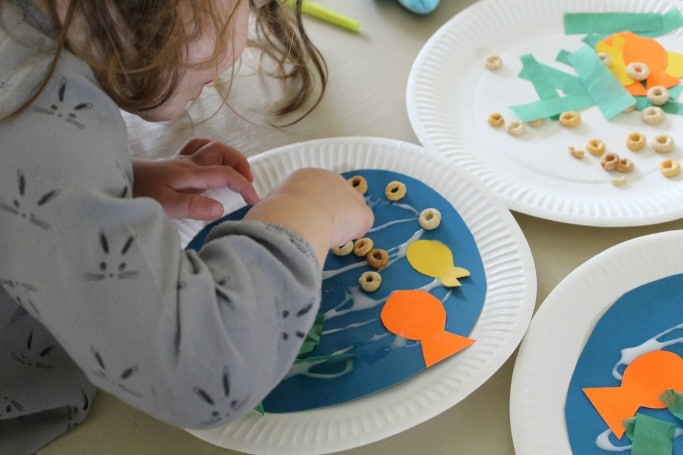 sea collage paper plate kids