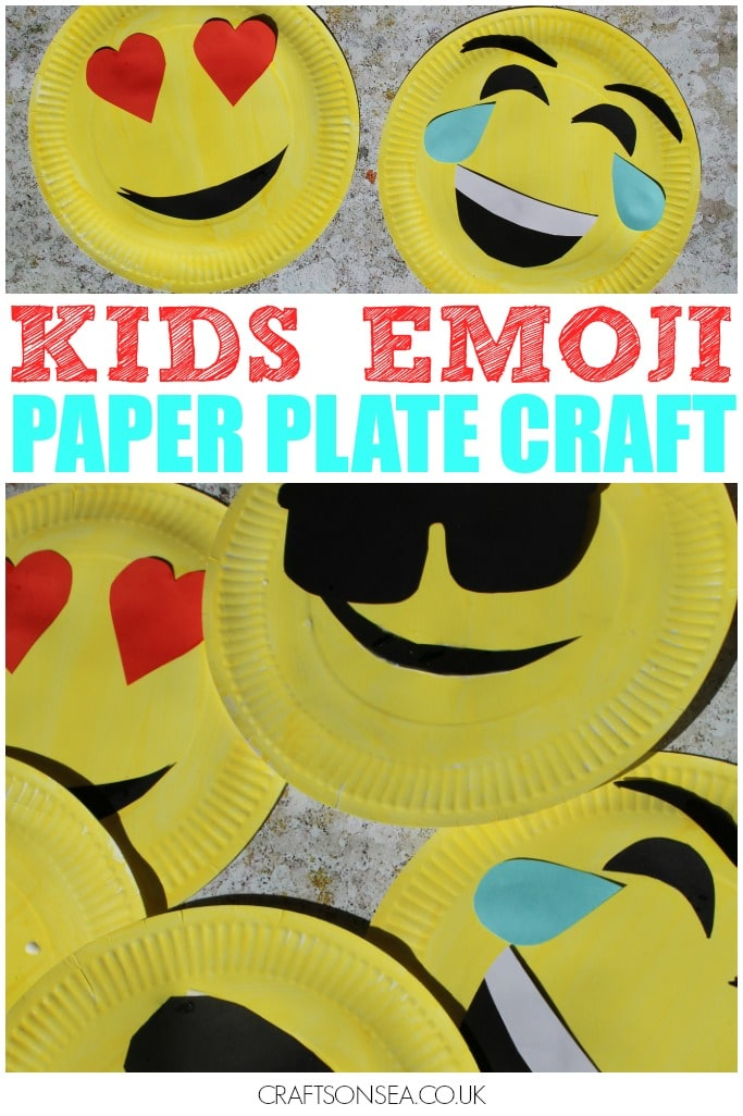 emoji crafts for kids paper plate