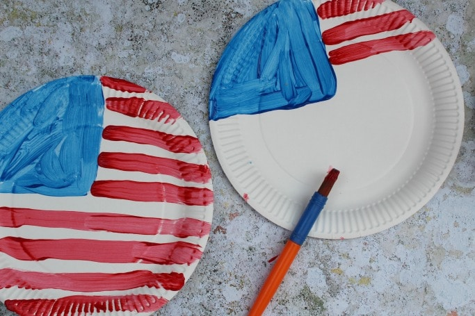 paper plate craft flag 4th of july