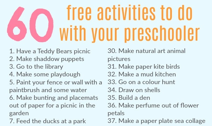60 free activities to do with preschoolers