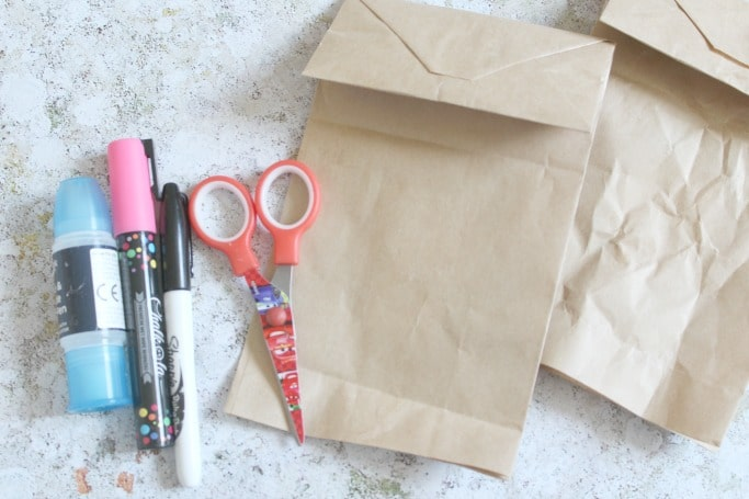 paper bag bear craft for kids materials