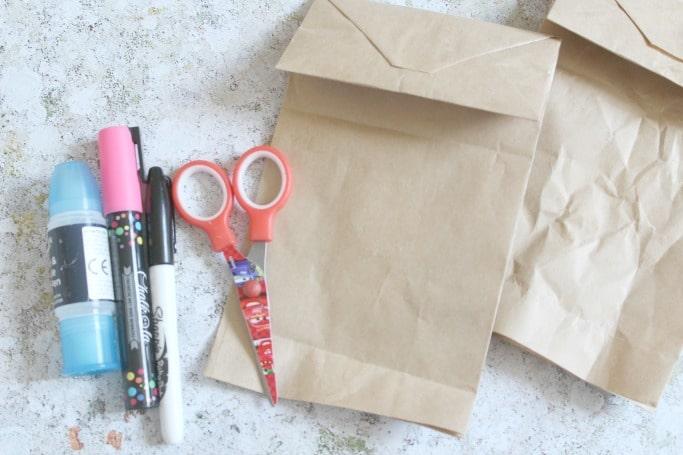 paper bag bear craft for kids materials