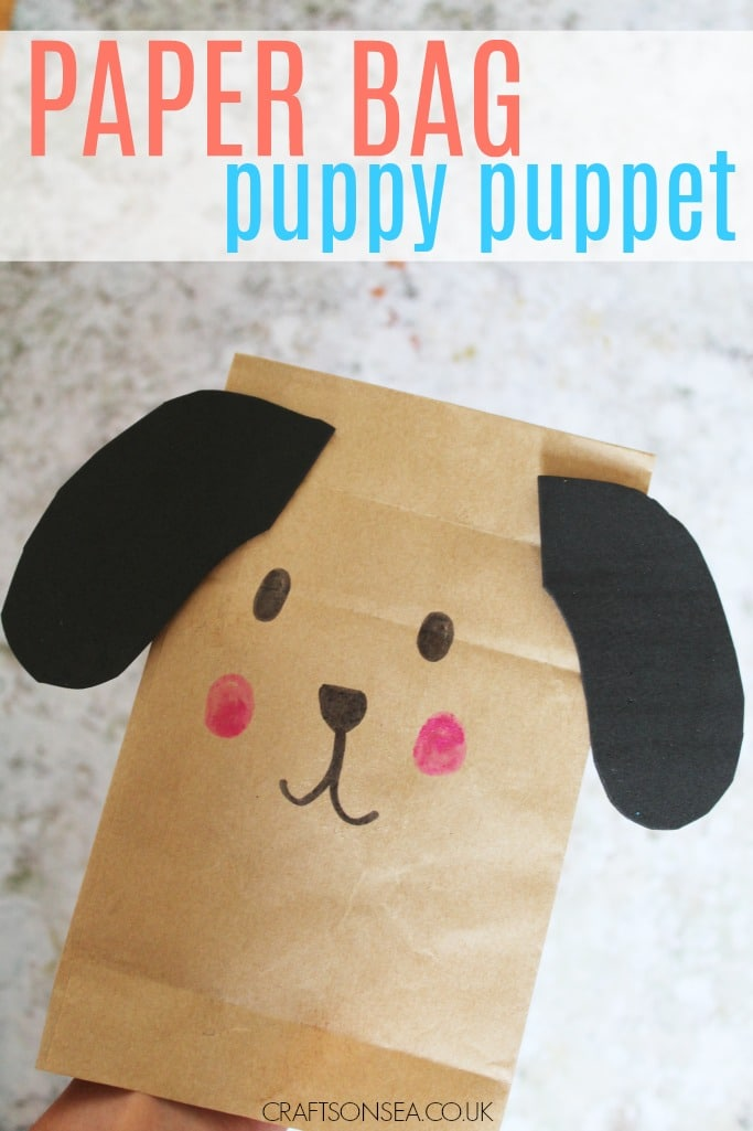 paper bag easy puppy craft for kids puppet