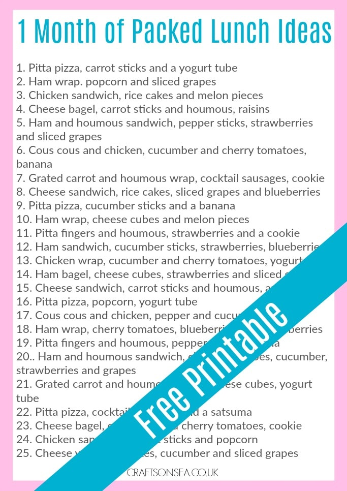 packed lunch ideas free printable