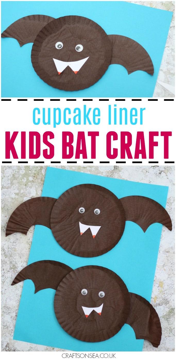 Cupcake liner bat craft for kids