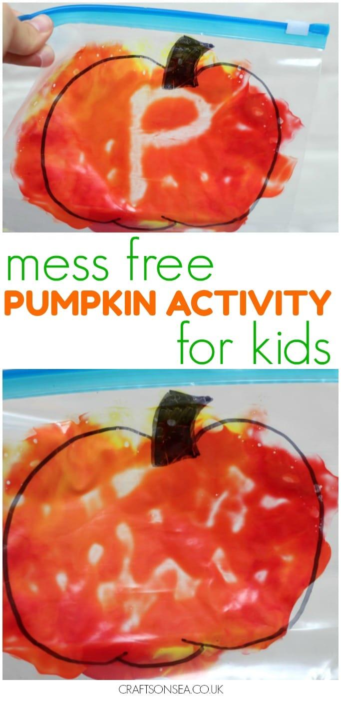 mess free pumpkin craft for kids