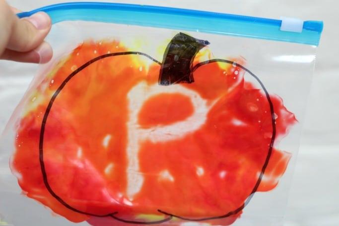mess free pumpkin letter practice mark making