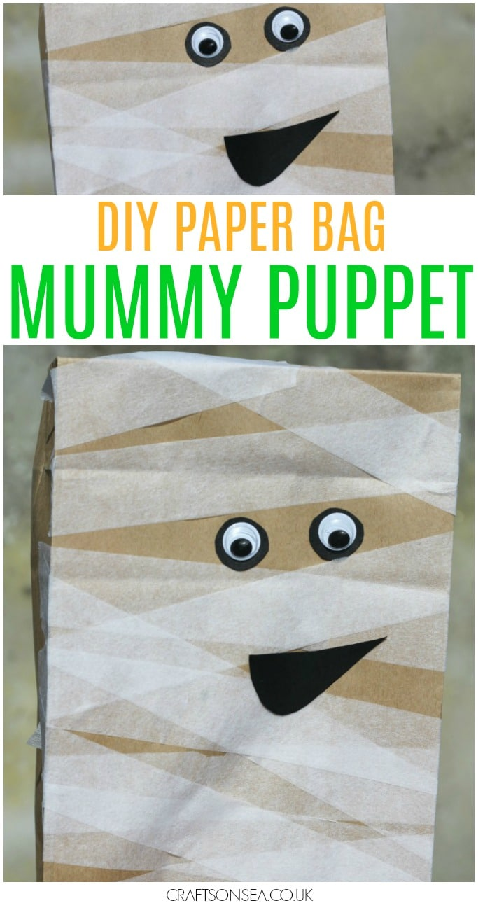 paper bag mummy puppet