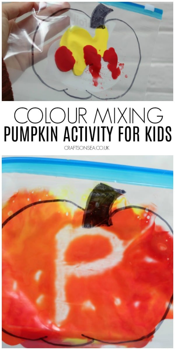 pumpkin activities for kids colour mixing preschool toddler