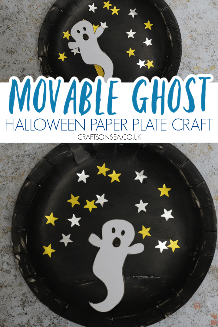 PAPER PLATE GHOST CRAFT FOR HALLOWEEN MOVABLE