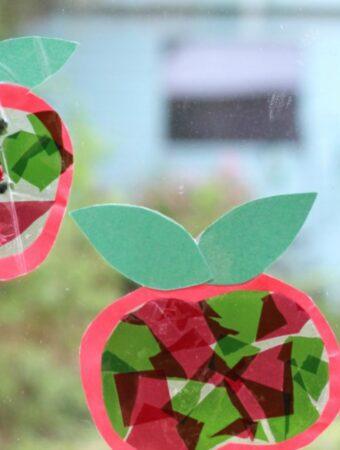 apple suncatcher craft for kids autumn
