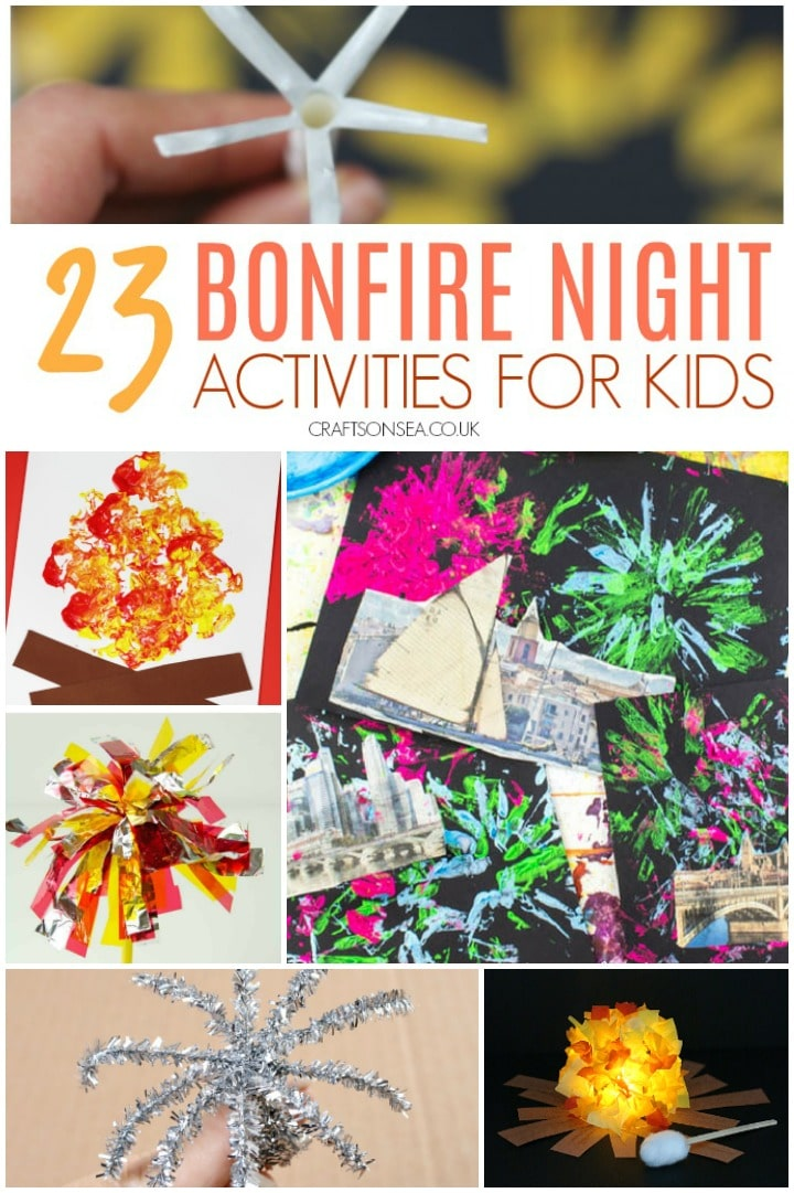 a collage of bonfire night activities and crafts for kids suitable for guy fawkes night