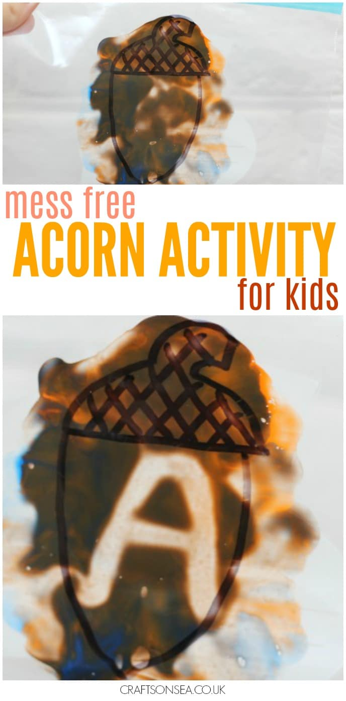 mess free acorn activity for kids