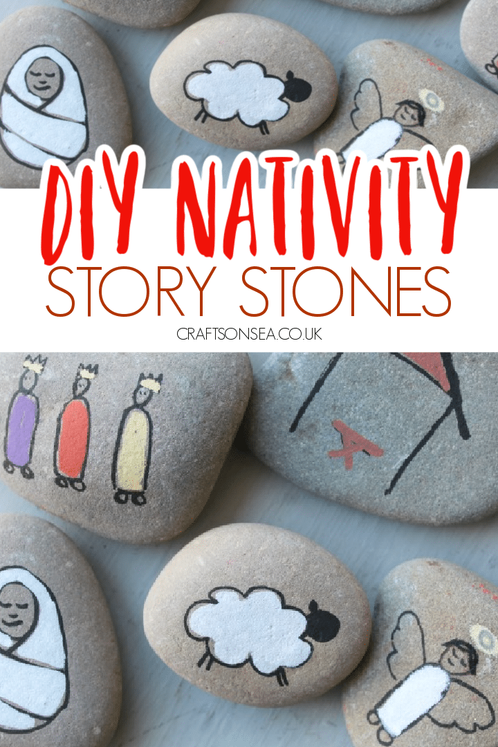 DIY Nativity story stones