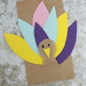 Paper Bag Turkey Craft for Kids puppet 300