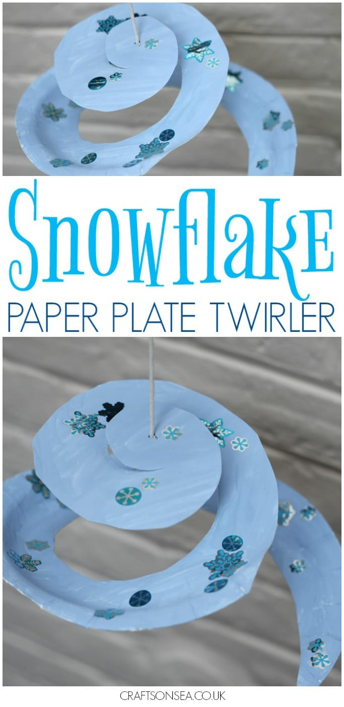 Snowflake Paper Plate Twirler easy craft for kids