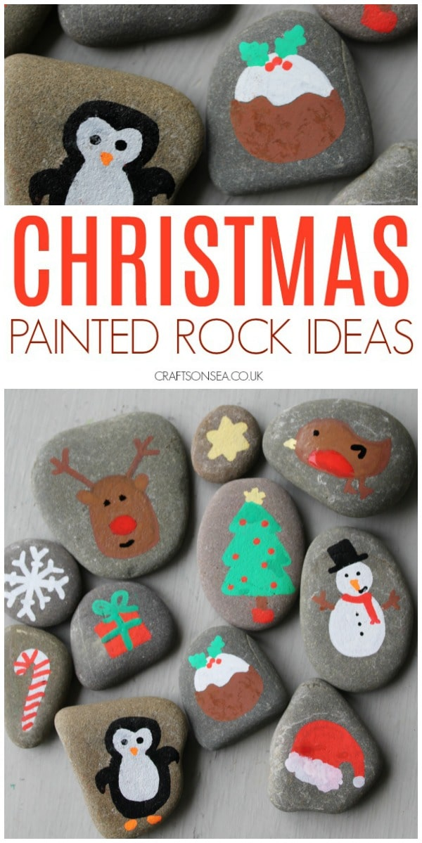 christmas rock painting ideas for kids easy crafts #christmas #christmascrafts #rockpainting