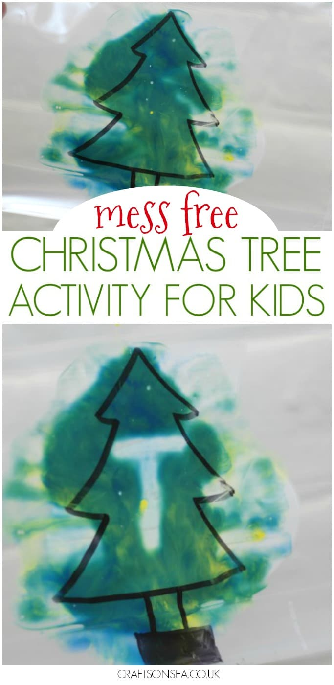 mess free christmas tree activity for kids eyfs