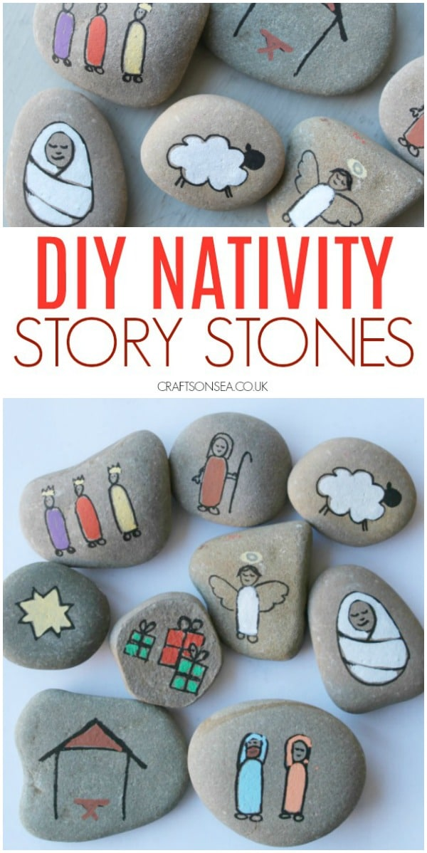 nativity story stones christmas craft for kids #christmascraftsforkids #nativity