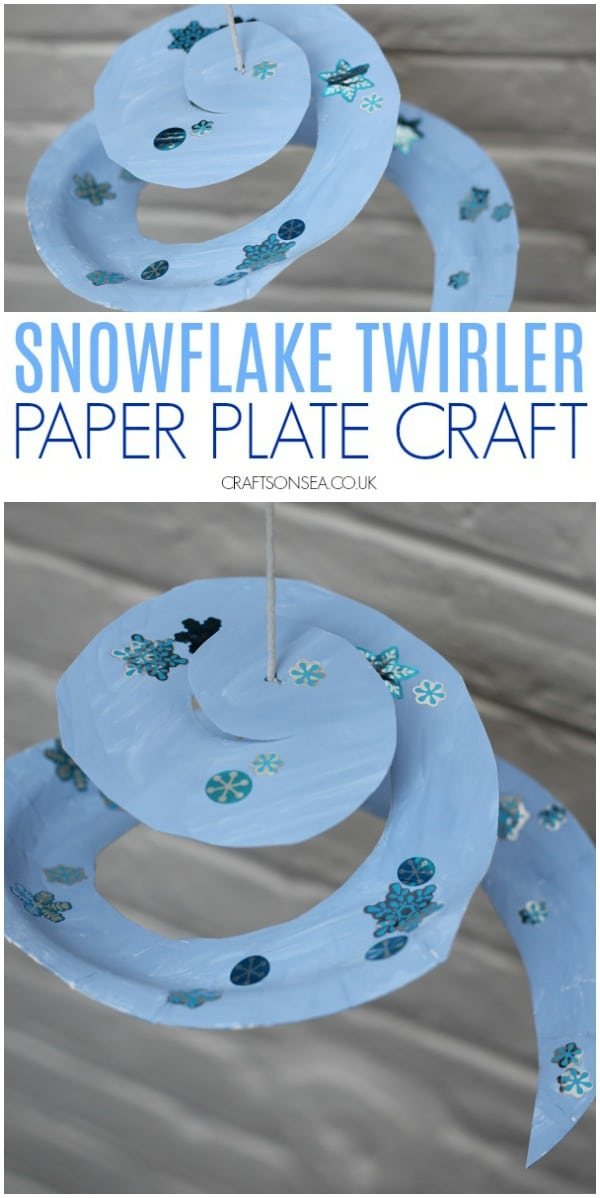 paper plate craft for winter snowflake twirler #wintercrafts #kidscrafts