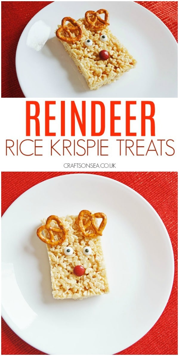 reindeer rice krispie treats kids can make christmas #christmas #christmastreats #kidsactivities