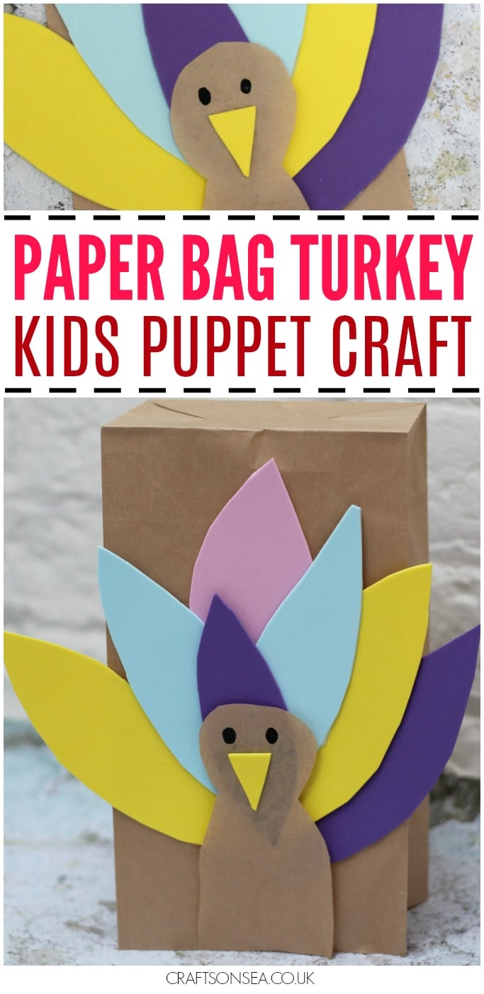 thanksgiving crafts for kids paper bag turkey puppet