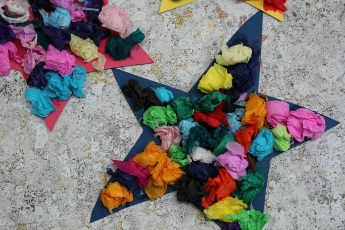 Scrunched Paper Stars Craft