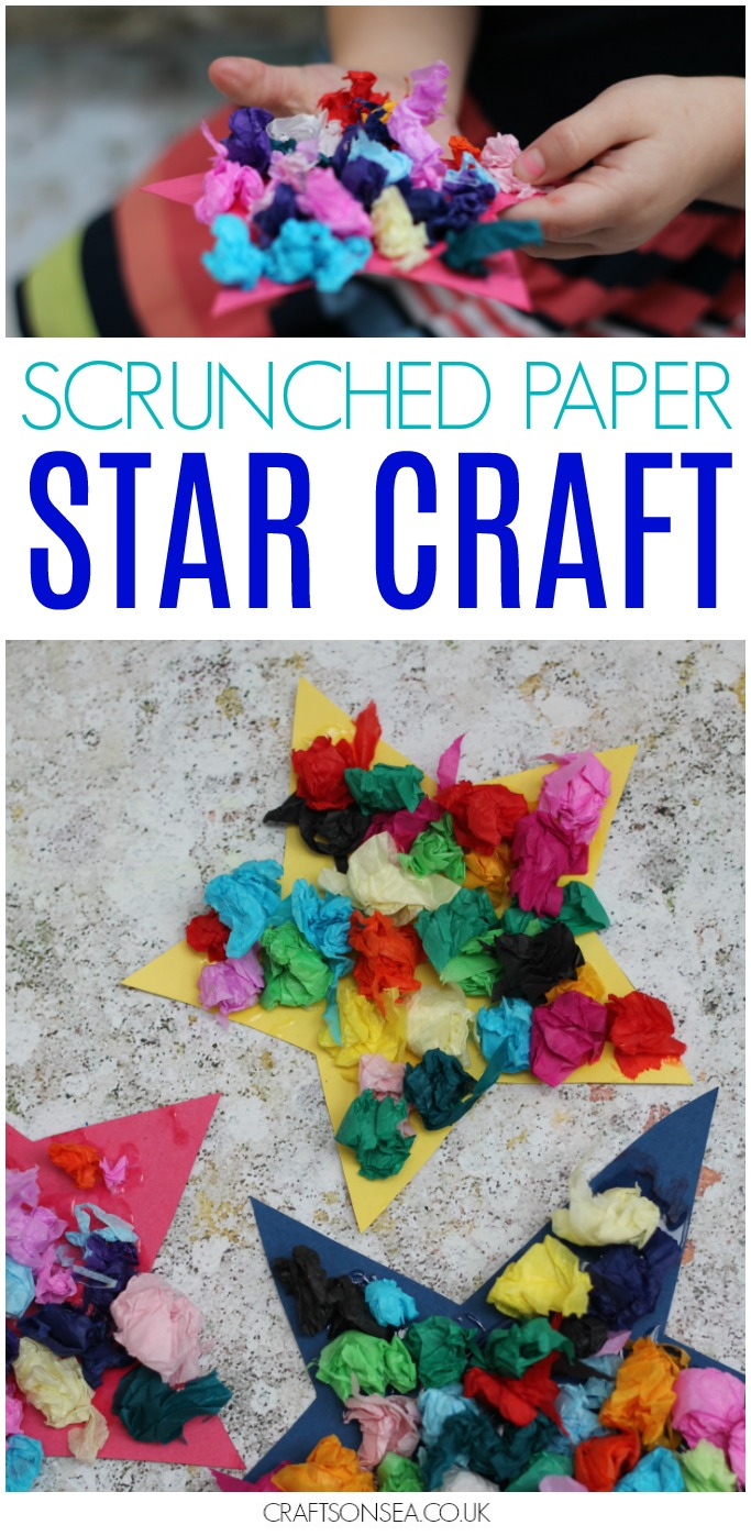 Scrunched Paper Stars New Years Eve Craft space 4th july