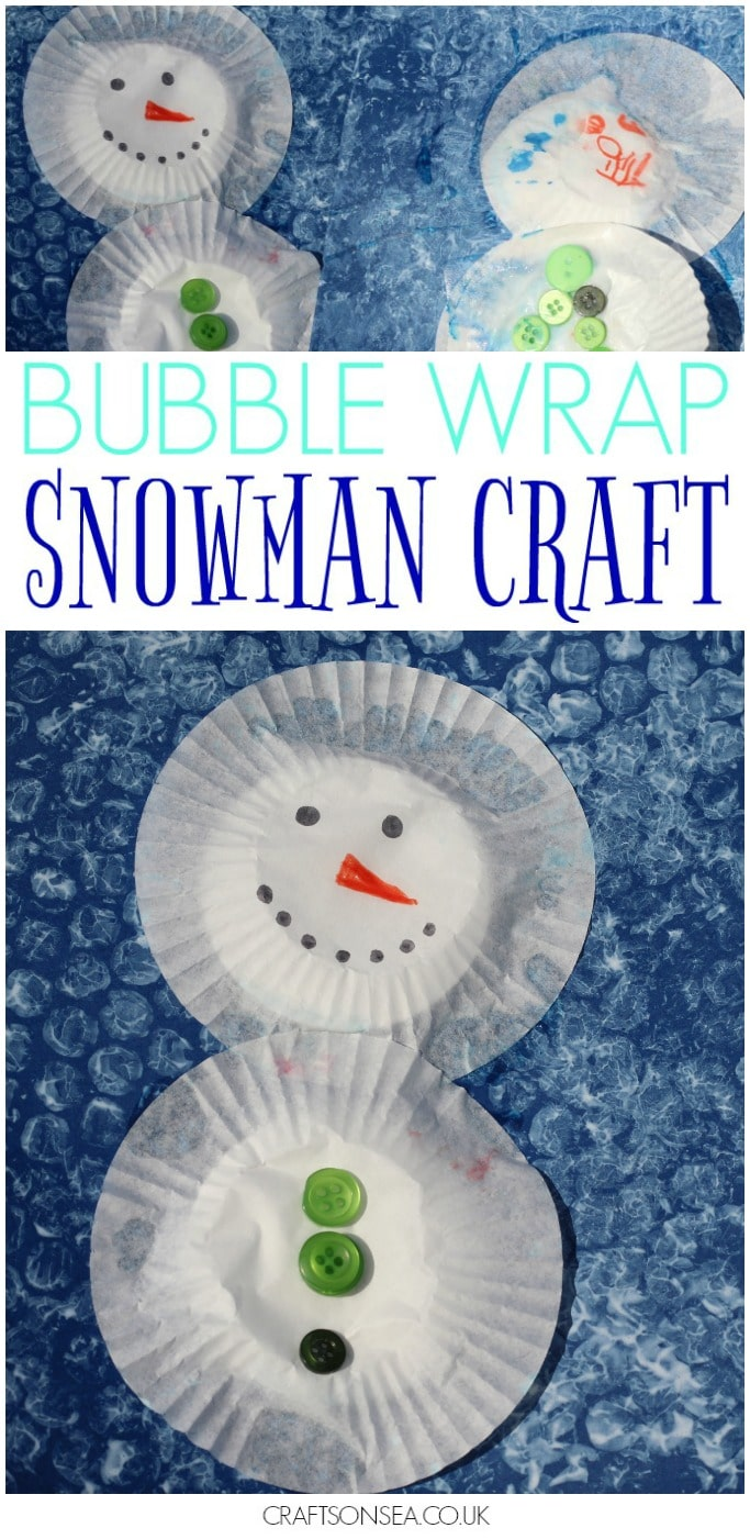 bubble wrap snowman craft kids toddlers preschool
