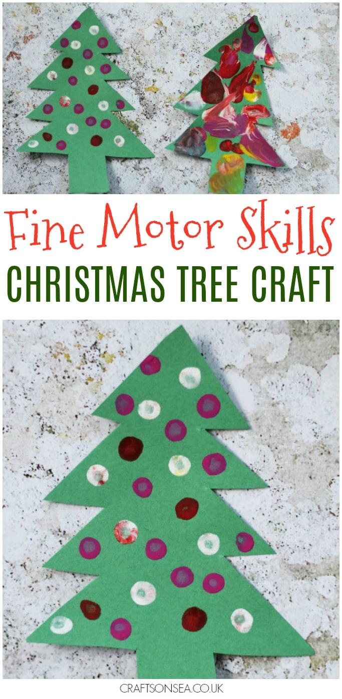 fine motor skills christmas tree craft for kids