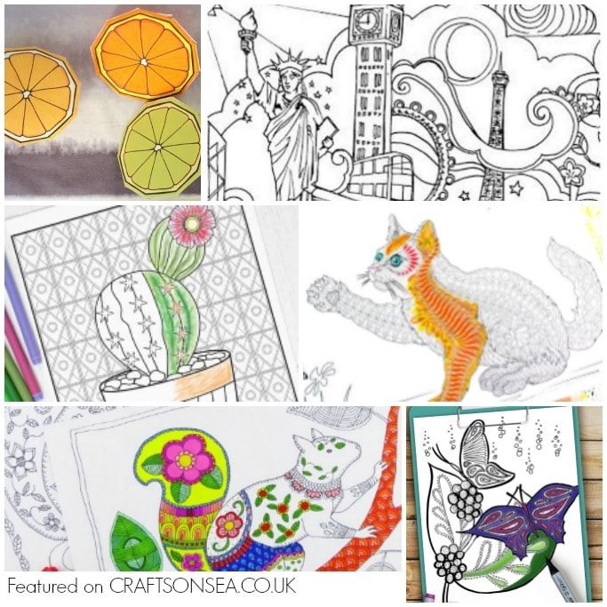 free colouring sheets for adults square